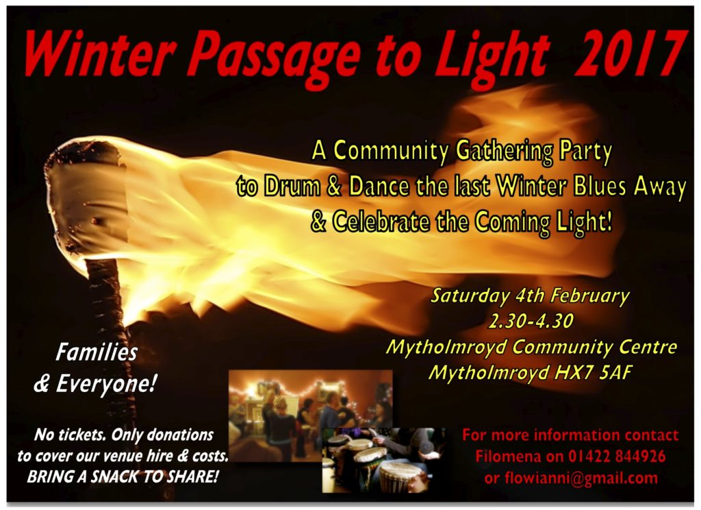 Winter passage to light drum and dance event